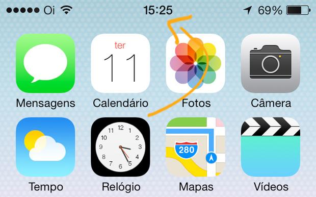 Ícone do relógio no iOS 7 mostra a hora real nos ponteiros (Foto: Reprodução / Edivaldo Brito)
