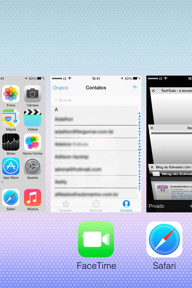 iOS 7 ganhou um novo recurso de multitarefas (Foto: Reprodução / Edivaldo Brito)