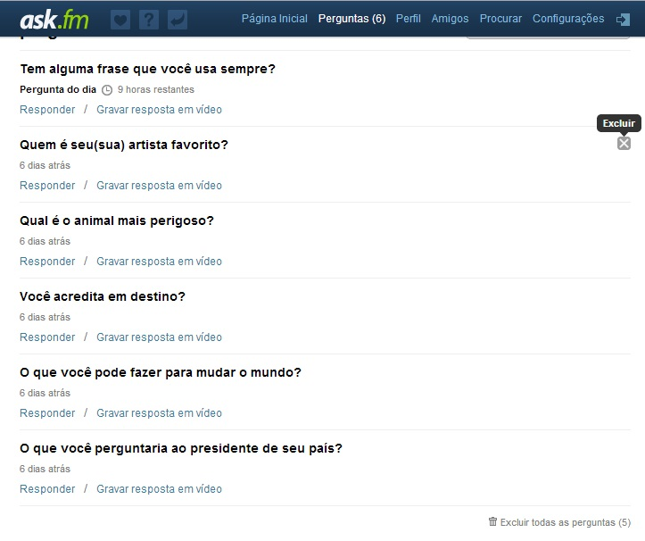 Apagando uma pergunta no Ask.fm  (Foto: Reprodução/Carolina Ribeiro)
