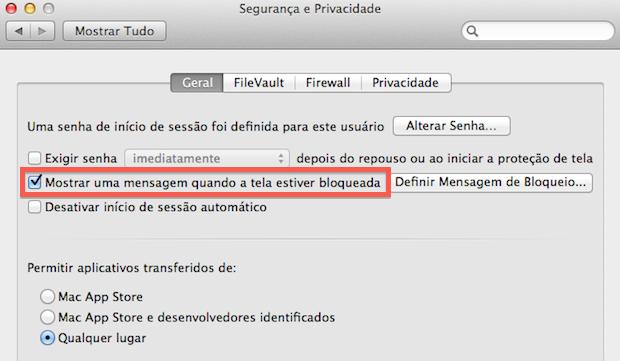 Ativando mensagem na tela de bloqueio e login (Foto: Reprodução/Helito Bijora)