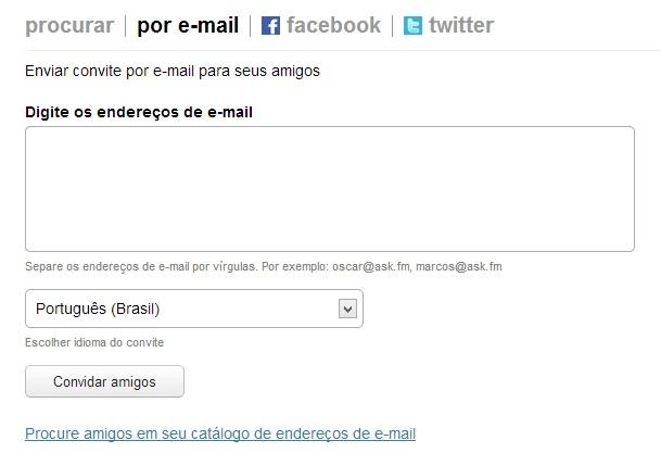 Convide amigos por e-mail no Ask.fm (Foto: Reprodução/Carolina Ribeiro) (Foto: Convide amigos por e-mail no Ask.fm (Foto: Reprodução/Carolina Ribeiro))