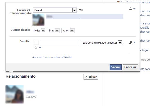Configure o relacionamento no seu perfil (Foto: Reprodução/Thiago Barros)