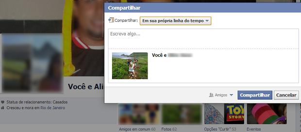 Compartilhamento é publicado na página do usuário que está logado (Foto: Reprodução/Thiago Barros) (Foto: Compartilhamento é publicado na página do usuário que está logado (Foto: Reprodução/Thiago Barros))