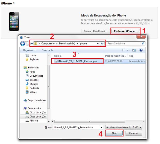 Selecionando o firmware do iOS 7 beta baixado para instalar (Foto: Reprodução/Edivaldo Brito)