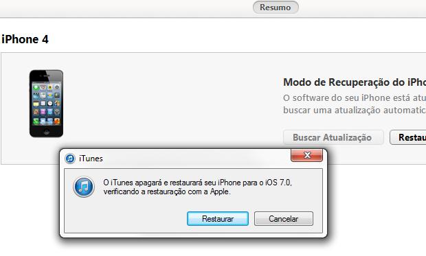 ITunes alertando que irá apagar e restaurar seu iPhone (Foto: Reprodução/Edivaldo Brito)