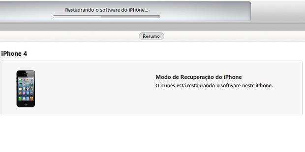 ITunes instalando o iOS 7 no iPhone (Foto: Reprodução/Edivaldo Brito)