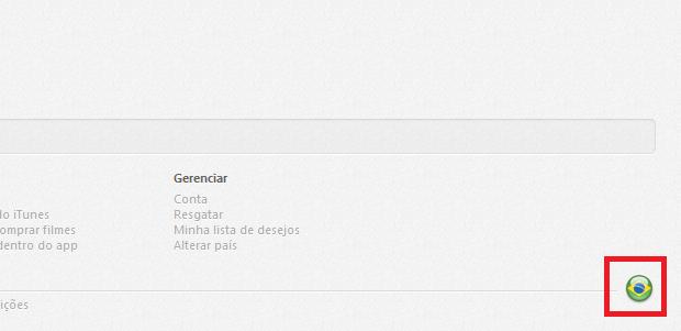 Clicando no ícone da bandeira no iTunes (Foto: Reprodução/Edivaldo Brito)