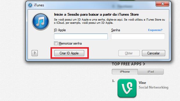 """Clicando no botão """"Criar ID Apple"""" (Foto: Reprodução/Edivaldo Brito)"""