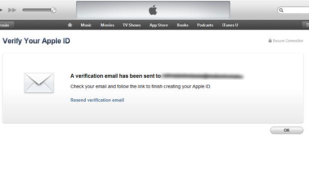 iTunes informando que enviou e-mail de confirmação (Foto: Reprodução/Edivaldo Brito)