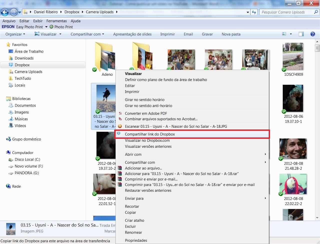 """Clique com o botão direito do mouse sobre o documento ou pasta e selecione a opção """"Compartilhar link do Dropbox"""" (Foto: Reprodução/ Daniel Ribeiro)"""