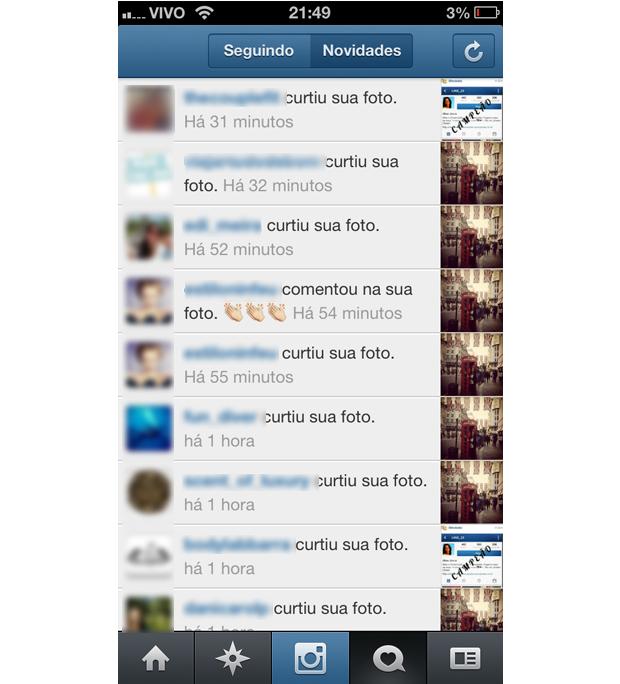 Tela de notificações do Instagram (Foto: Aline Jesus/Reprodução)