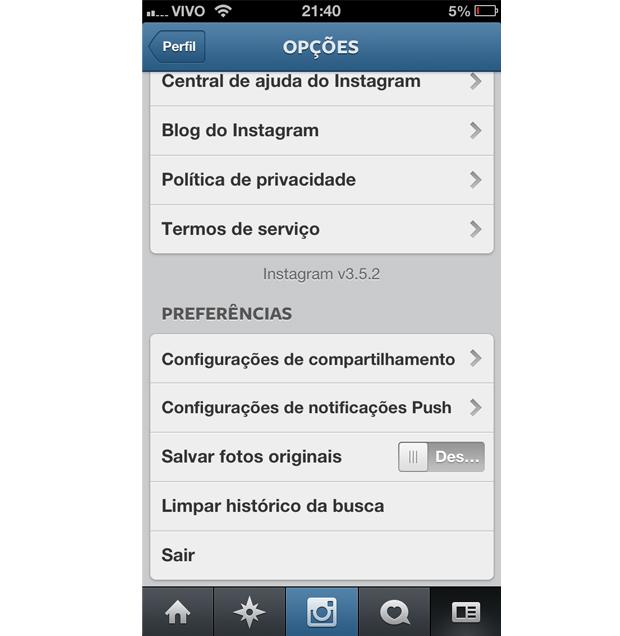 Configurando as notificações de push do Instagram (Foto: Aline Jesus/Reprodução)