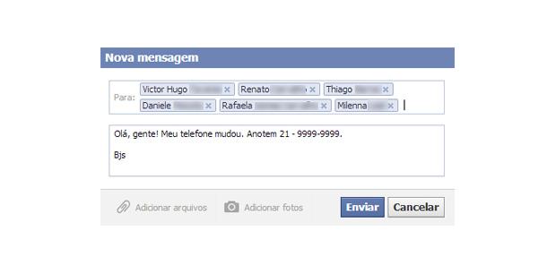 Selecionando os amigos para enviar uma mensagem provada no Facebook  (Foto: Aline Jesus/Reprodução)