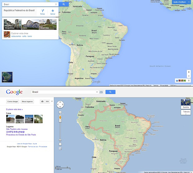 Comparação entre o Maps novo e o antigo (Foto: Reprodução)