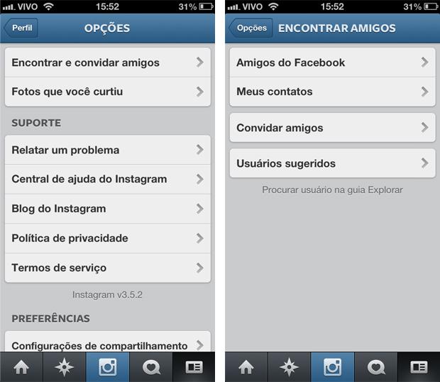 Procurando por amigos no Facebook para adicioná-los ao Instagram (Foto: Aline Jesus/Reprodução)