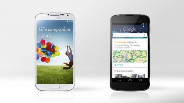 Samsung Galaxy SIV com a tela Super Amoled e LG Nexus 4 com tela True IPS HD Plus (Imagem: Reprodução / Gizmag)