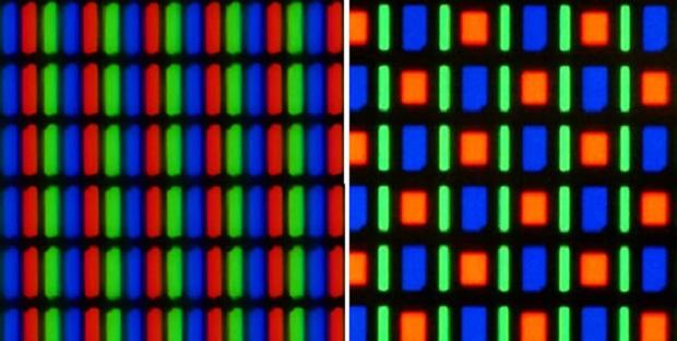Diferença entre a disposição dos subpixels na matriz RGB - esquerda - e na PenTile - direita (Imagem: Reprodução / TuttoAndroid)