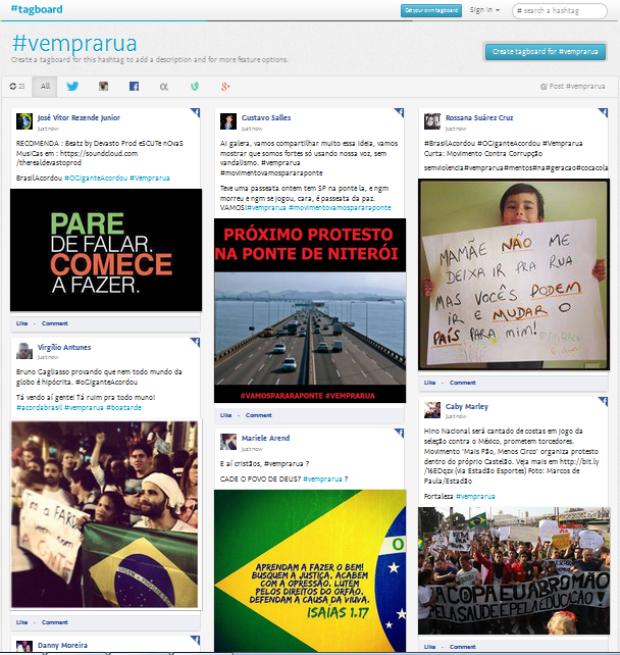 Resultados de busca de hashtags no Tagboard (Foto: Reprodução/Tagboard)