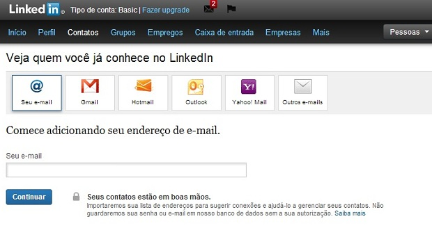 Insira endereço de e-mail e LinkedIn vai buscar contatos para você (Foto: Reprodução/Thiago Barros)