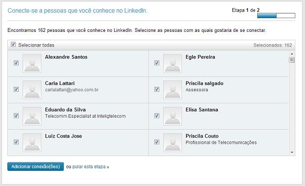 Contatos de e-mail são ótima opção de buscar pessoas no LinkedIn (Foto: Reprodução/Thiago Barros)
