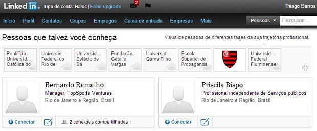 LinkedIn sugere possíveis conexões ao usuário (Foto: Reprodução/Thiago Barros)