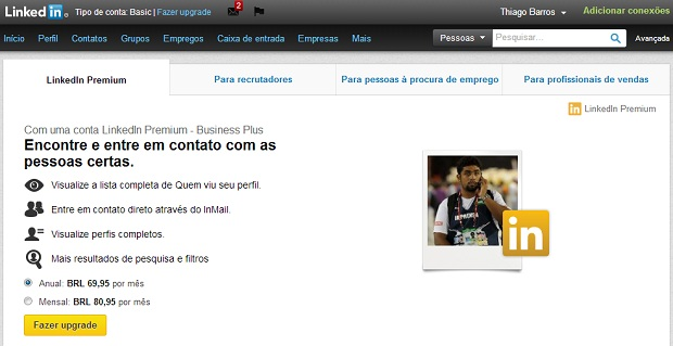 Conta Premium tem preços a partir de R$ 39,95 mensais (Foto: Reprodução/Thiago Barros)