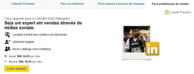 É possível fazer conta para o LinkedIn lhe auxiliar nas vendas (Foto: Reprodução/Thiago Barros)