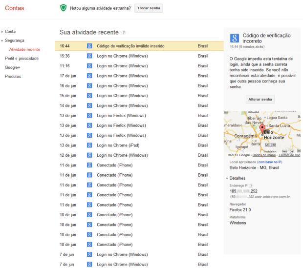Página exibe todas as atividades recentes das Contas Google (Foto: Reprodução)