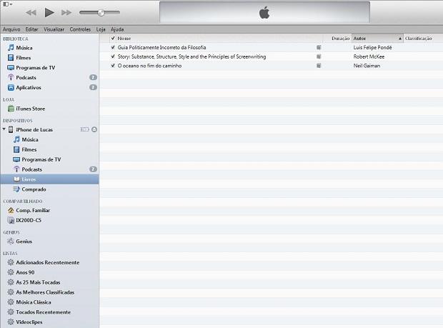 iTunes exibe seus livros organizados em uma guia específica (Foto: Lucas da Silva/TechTudo)