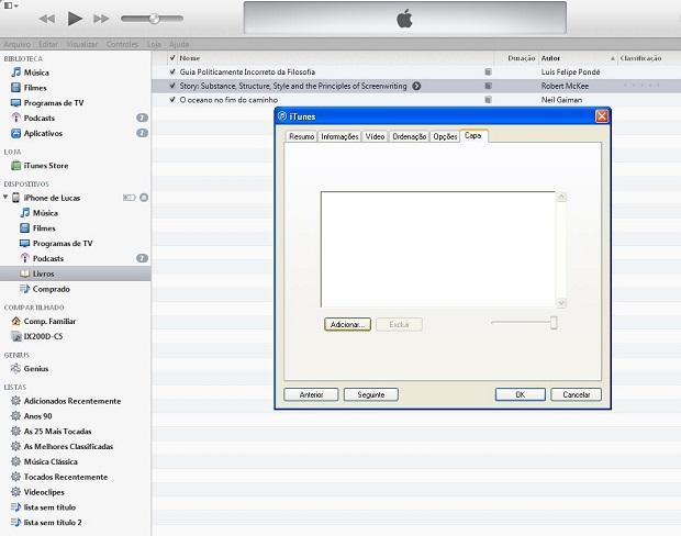 iTunes pode ser usado para adicionar a capa do livro manualmente (Foto: Lucas da Silva/TechTudo)
