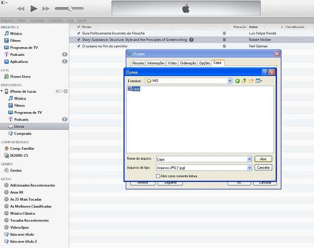 Selecione a capa que deseja que o iTunes adicione ao livro (Foto: Lucas da Silva/TechTudo)