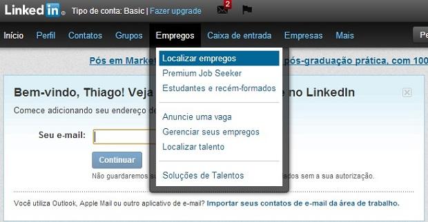 Clique nesta opção, como se fosse buscar empregos (Foto: Reprodução/Thiago Barros)