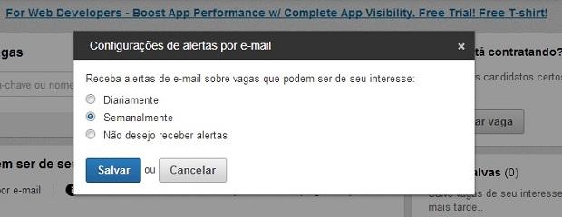 Escolha a periodicidade com que você deseja receber alertas (Foto: Reprodução/Thiago Barros)