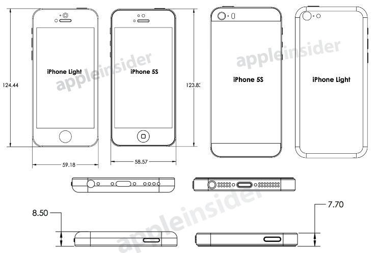 """Desenho com os esquemas do iPhone """"Light"""" e do iPhone 5S (Foto: Reprodução/AppleInsider)"""