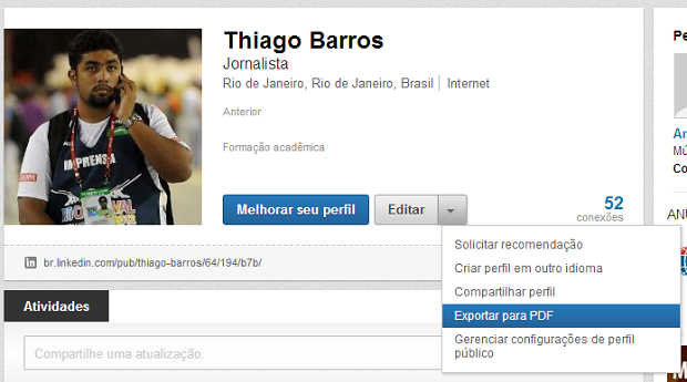 Exportar para PDF fica na opção de editar o perfil (Foto: Reprodução/Thiago Barros)