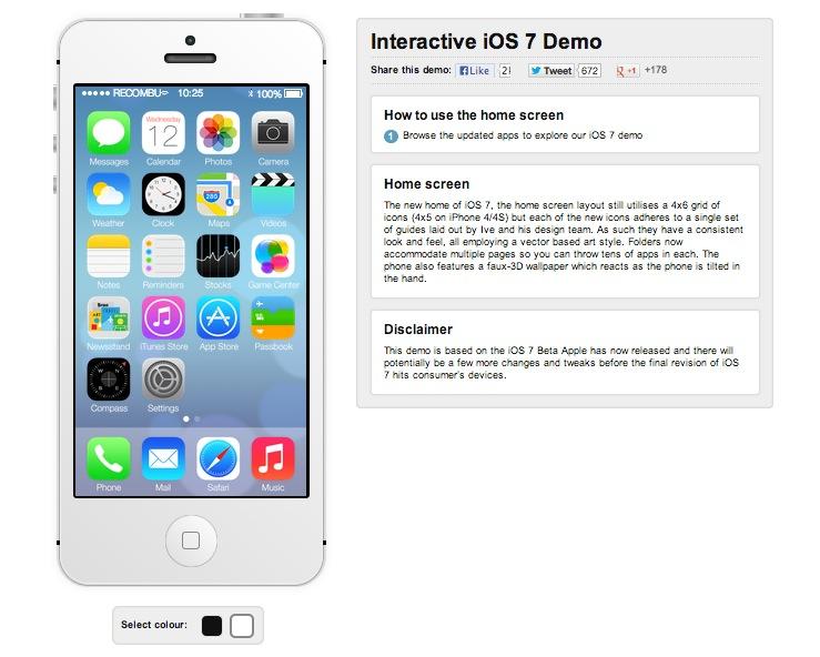 iPhone 5 virtual traz novo iOS 7 para testes em página da Internet (Foto: Reprodução/Recombu)