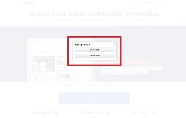 Opções de redes sociais para a atualização das notícias (Foto: Reprodução/Lívia Dâmaso)