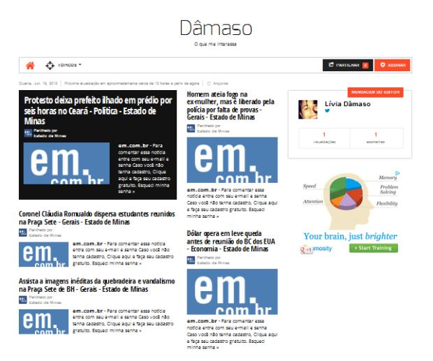 Jornal no Paper.li (Foto: Reprodução/Lívia Dâmaso)