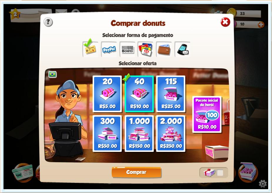 Donuts: o 'Cash' de Hero Zero oferece diversos tipos de pacotes (Foto: TechTudo)