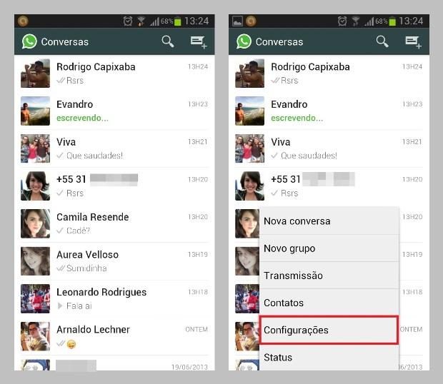 Tela inicial do WhatsApp e atalho para as configurações do aplicativo (Foto: Reprodução/Lívia Dâmaso)