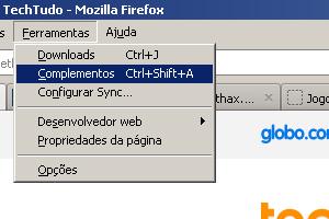 Passo 1 - Abra a seção de Complementos do FireFox (Foto: Reprodução)