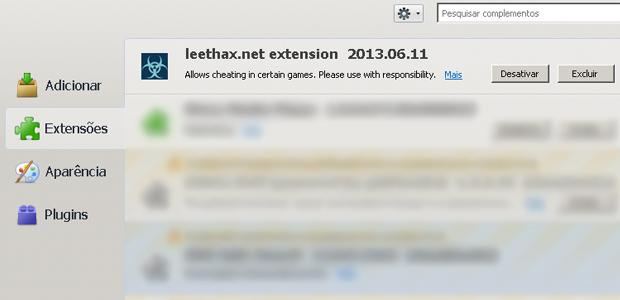 Passo 3 - Desative ou exclua a extensão Leethax no FireFox (Foto: Reprodução)