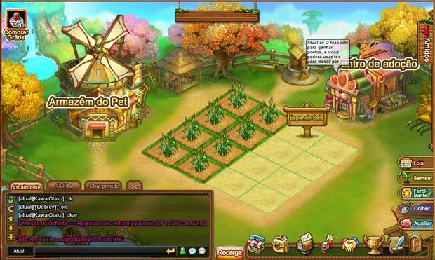 Plantando suas sementes e upando seu pet em DDTank (Foto: TechTudo)
