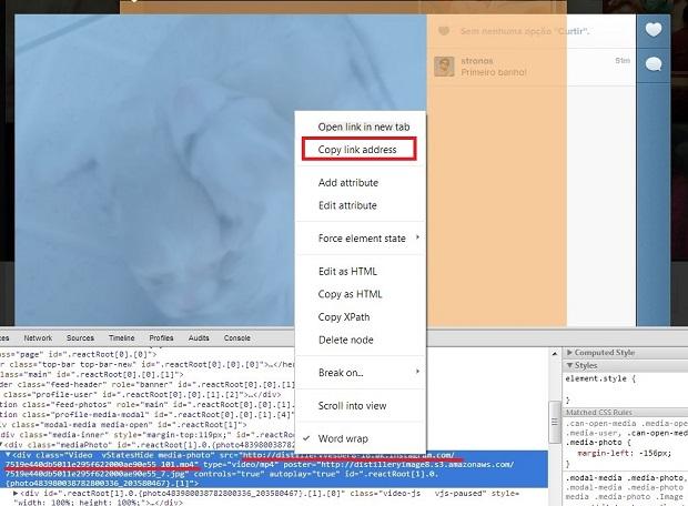 """Copie o link terminado em .mp4, clicando sobre ele com o botão direito do mouse e escolhendo a opção """"Copy link address""""  (Foto: Divulgação/ Daniel Ribeiro)"""