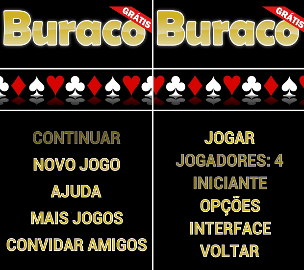 Buraco Grátis não permite configurar nível ou número de gamers (Foto: Reprodução/Thiago Barros)