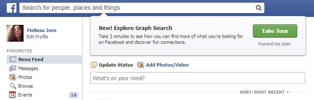 Em inglês, Facebook sugere um tour pelo novo serviço de busca social (Foto: Reprodução)