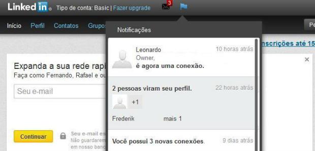 Linkedin oferece notificações de visualizações (Foto: Reprodução/Thiago Barros)