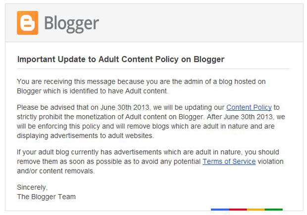 E-mail do Google avisa que blogs com conteúdo adulto serão deletados do Blogger (foto: Divulgação)