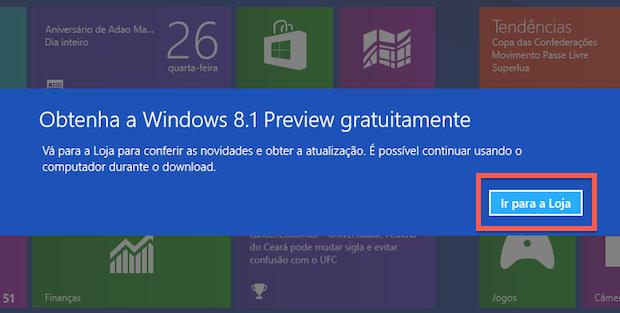 Alerta sobre atualização para o Windows 8.1 (Foto: Reprodução/Helito Bijora)