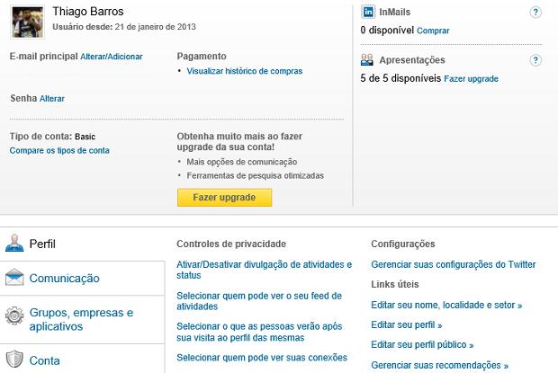 Aqui aparecem as opções de configurações do LinkedIn (Foto: Reproduçao Thiago Barros)